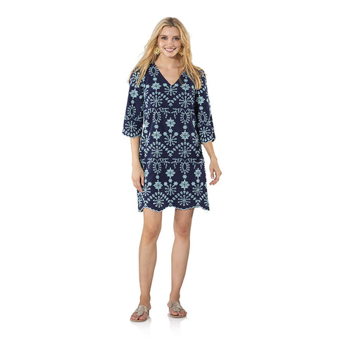 Sail to Sable Embroidered Cotton Long Sleeve Dress Navy