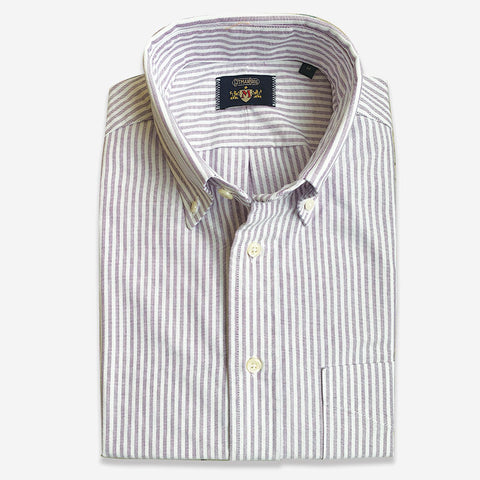 M Crest by Gitman Bros Stripe Button Down Oxford Purple