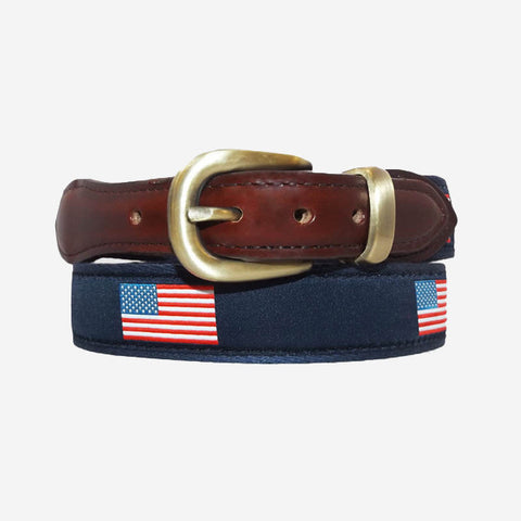 YRI Men's Ribbon Belt - American Flag