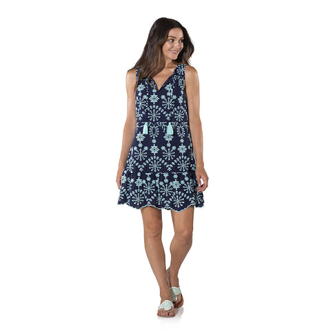 Sail to Sable Embroidered Cotton Sleeveless Peplum Dress Navy