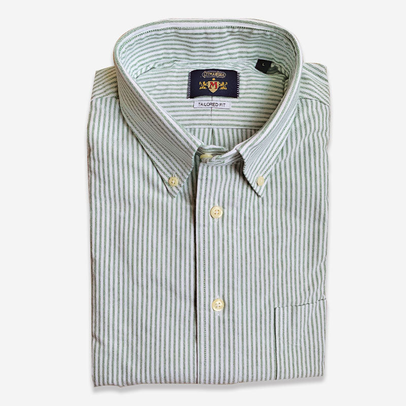 M Crest by Gitman Bros Stripe Button Down Oxford Green