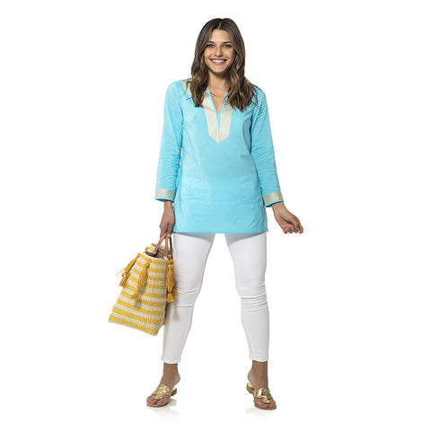 Sail to Sable Long Sleeve Tunic Top Ocean
