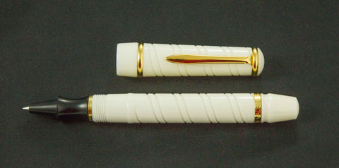 Bexley, Cable Twist Rollerball Pen, White w/ Goldplate Trim