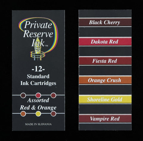 Private Reserve Ink - Assorted Red & Orange Ink Cartridges 12 Pack