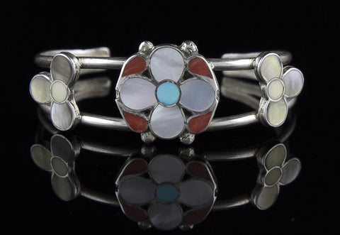 Jewelry, Bracelet, Sterling Silver, Mother of Pearl, Turquoise & Coral (Native American)