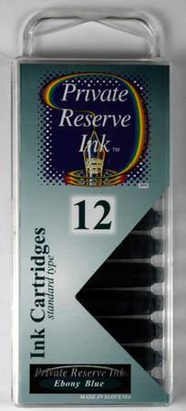 Private Reserve Ink - Ebony Blue Ink Cartridges 12 Pack