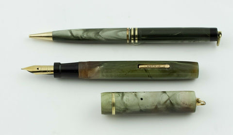 LeBoeuf, Ring Top Fountain Pen & Pencil Set, Grey Marbled w/Gold Fill Trim - VP4780