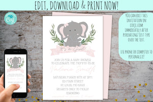 Elephant Baby Shower Invitation Package For A Girl | Baby Elephant Pink Watercolor Invite, Baby Shower, designLEE Studio, designLEE Studio