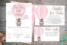Load image into Gallery viewer, Hot Air Balloon Baby Shower Package For a Girl |  Up, Up, & Away Party Invitation, Baby Shower, designLEE Studio, designLEE Studio