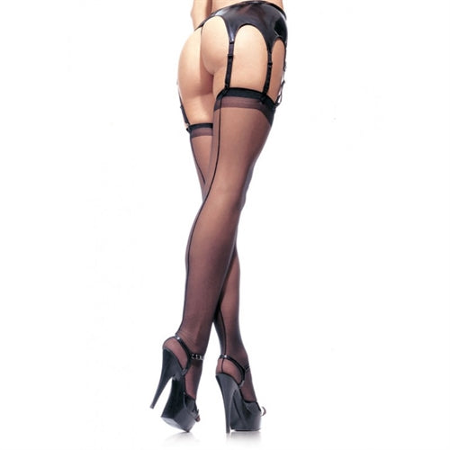 Sheer Backseam Stocking - One Size - Black LA-1000BLK