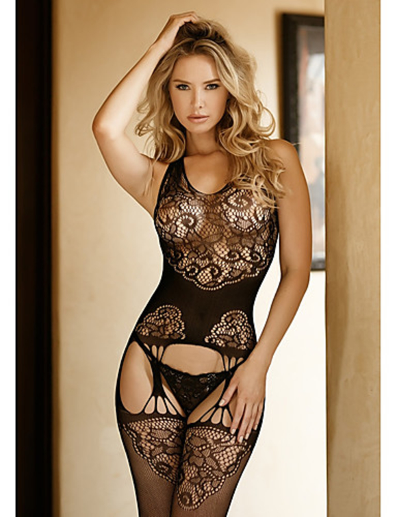 Lace Open Crotch Bodystocking