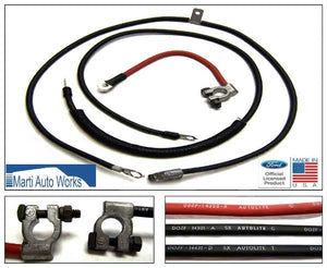 1970 1971 Mustang Heavy Duty V8 Battery Cable Set - Marti Auto Works