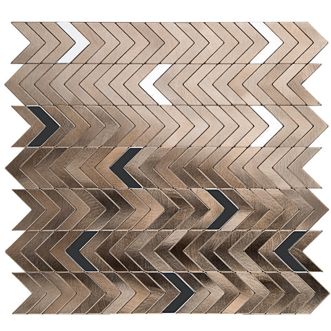 Decopus Peel and Stick Metal Tile Backsplash (Aluminium Brushed, Herring Bone,Cheveron)