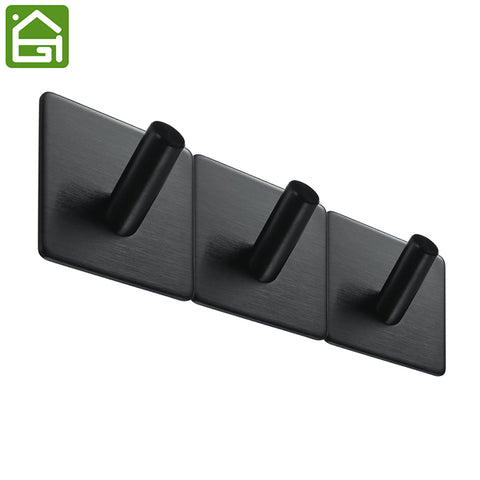 1 pc 3M Self Adhesive Hooks Heavy Duty Stainless Steel Coat Key Wall Mounted Hooks Waterproof Bathroom Kitchen Towel Black Hook