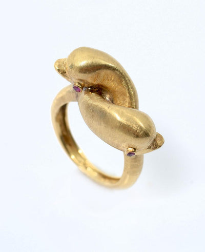 CUSTOM 18K DOLPHIN RING WITH RUBIES