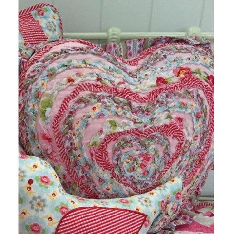 Tea Party Heart Ruffle Cushion