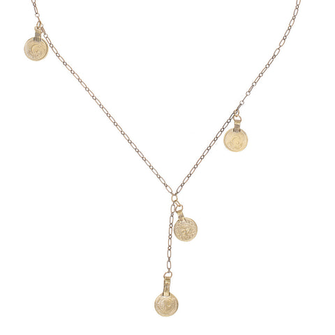 4 Lucky Coins on Vintage Chain Lariat Necklace