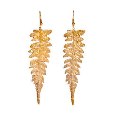 Long Redwood Fern Earrings