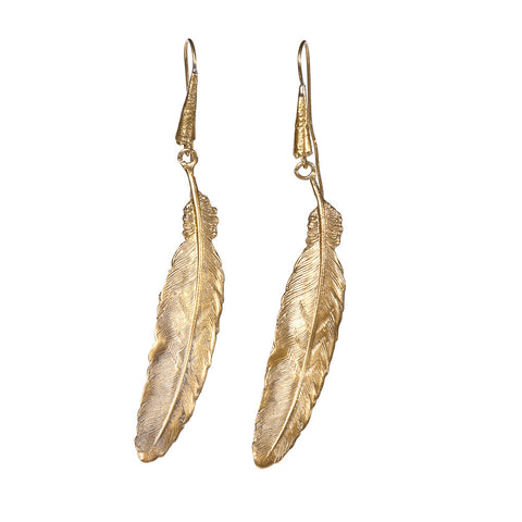 Long Edwardian Feather Earrings