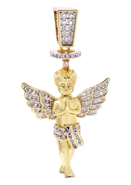 Mens Gold Angel Pendant | 6.2 Grams