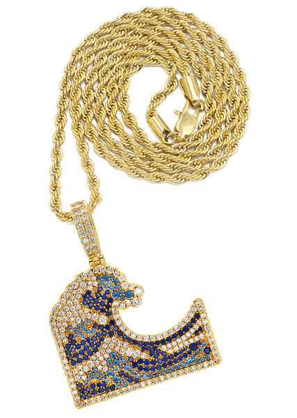 Yellow Gold Rope Chain & Wave Pendant | Appx. 11 Grams