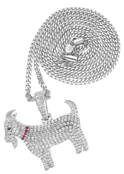 White Gold Cuban Link Chain & Goat Pendant | Appx. 14.5 Grams