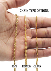 Mens Gold Rope Chain & Ruby Pendant | Appx. 12.3 Grams