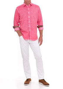 SANGRIA CORAL WASHED LINEN SHIRT