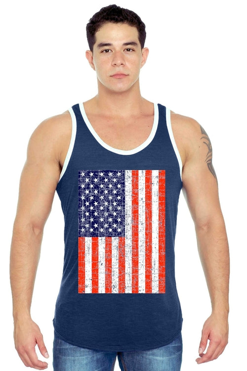 Men's USA Flag Tank Top Jumbo Distressed Red White