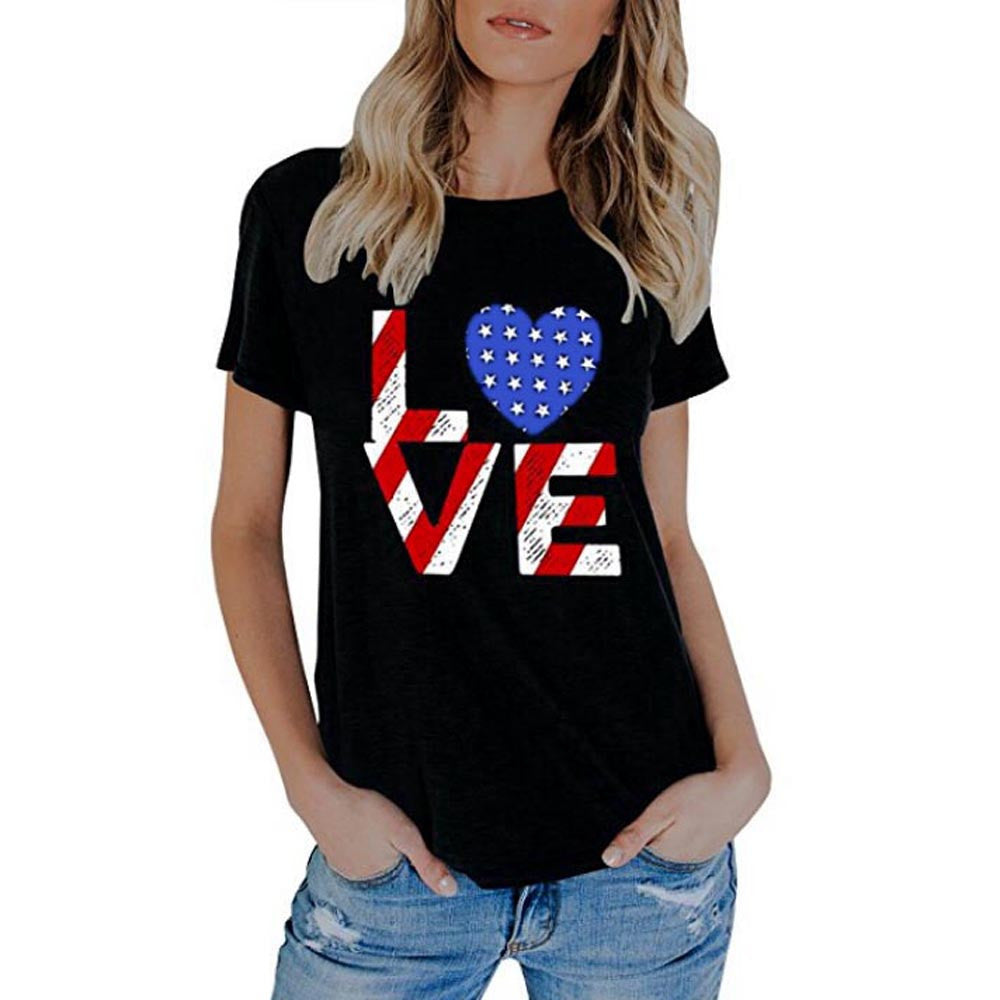 Womens Summer American Flag Print Tops Short Sleeve T-Shirts Blouse