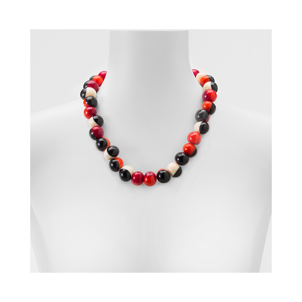 MARINA & SUSANNA SENT Glass Necklace - Macchia Ivory Red Orange | the OBJECT ROOM