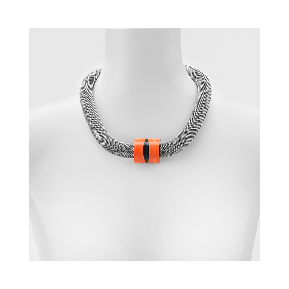 MARINA & SUSANNA SENT Glass Necklace - Twin Mesh Orange | the OBJECT ROOM
