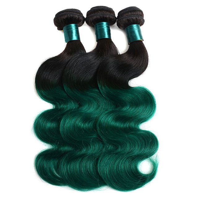 Sulmy 1 Bundle 1b/Green Two Tone Colored Body wave Ombre Brazilian Human Hair Weave ombre hair weave SULMY