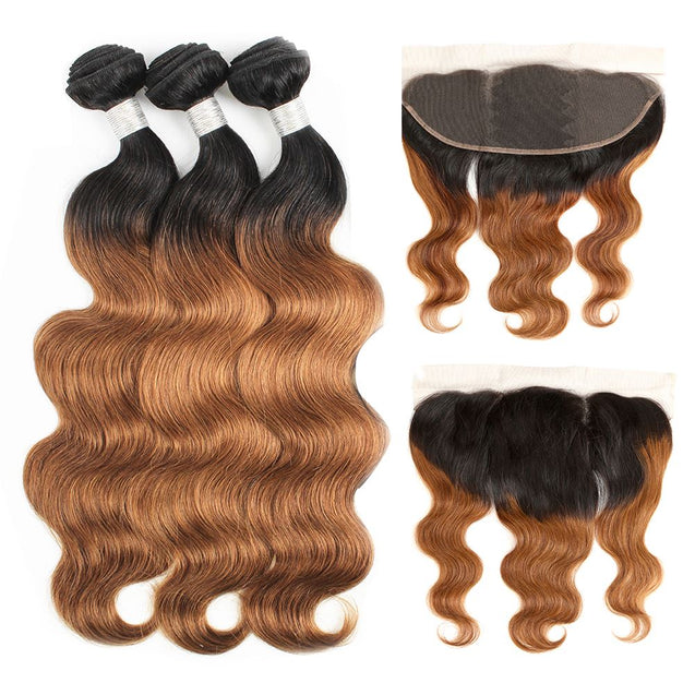 Sulmy 3 Bundles With Frontal Closure 1b #30 Ombre body wave Brazilian Hair Weave ombre hair weave SULMY