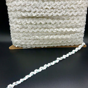 "Trimplace White 3/8"" Cupped Sequin Scroll"