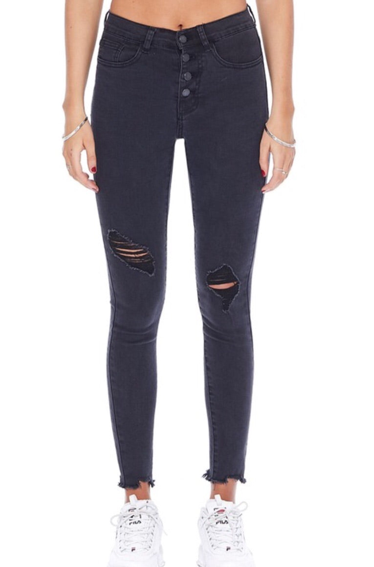 Judy Blue Button Fly Black Distressed Skinny