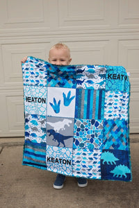 Personalized Dinosaur Patchwork Blanket - Blue Version
