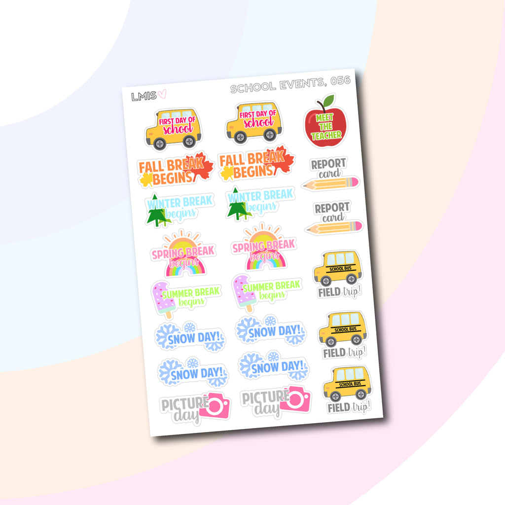 School Events Planner Stickers // 056 - Grab these stickers for your planner and let's get to it! - Let's Make It Sparkle