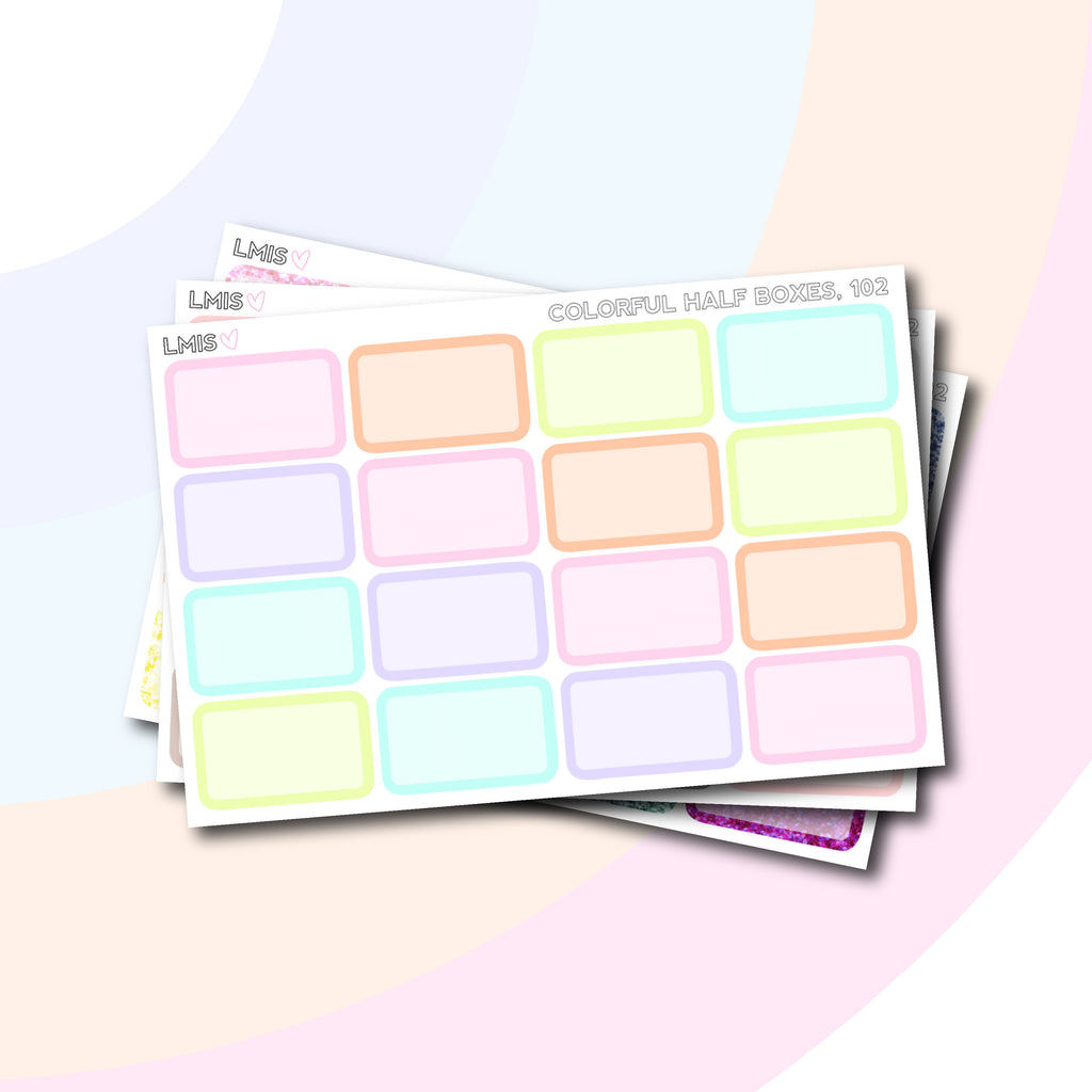 Half Box Planner Stickers  // 102 - Grab these stickers for your planner and let's get to it! - Let's Make It Sparkle