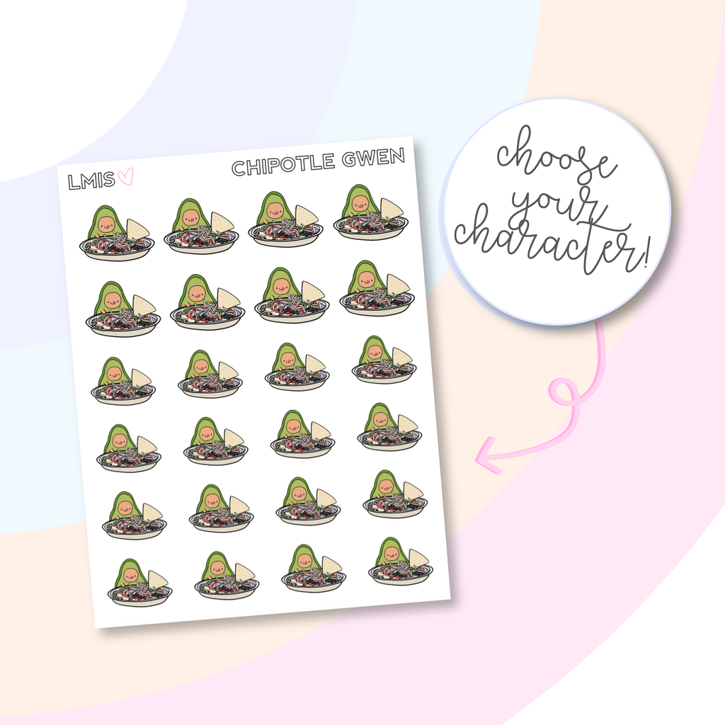 Chipotle AvoBabe Planner Stickers, AvoBabe Stickers, Guacamole, Chipotle