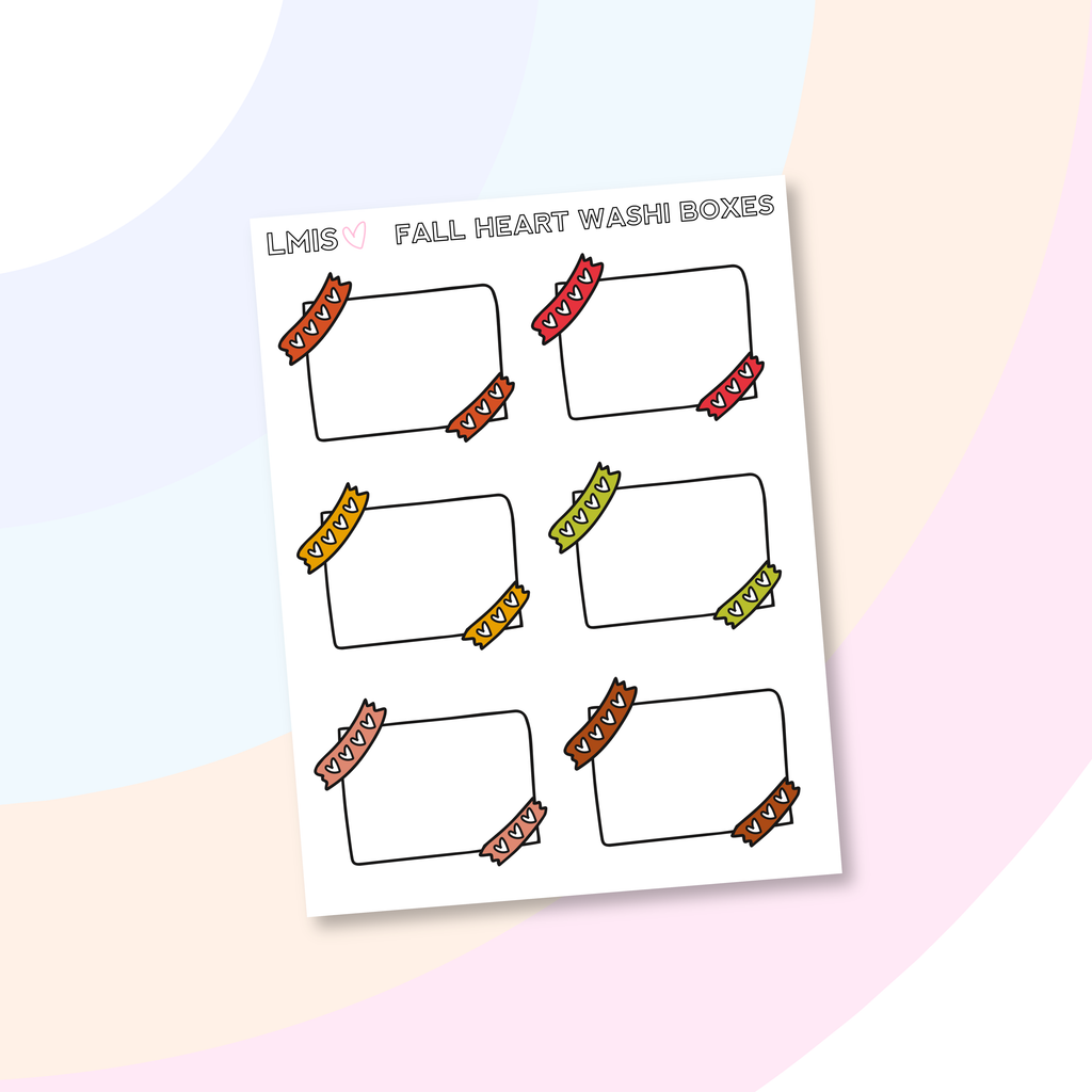 Fall Heart Washi Half Box Stickers - Grab these stickers for your planner and let's get to it! - Let's Make It Sparkle