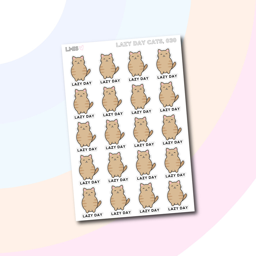 Lazy Day Kitten Planner Stickers // 030 - Grab these stickers for your planner and let's get to it! - Let's Make It Sparkle