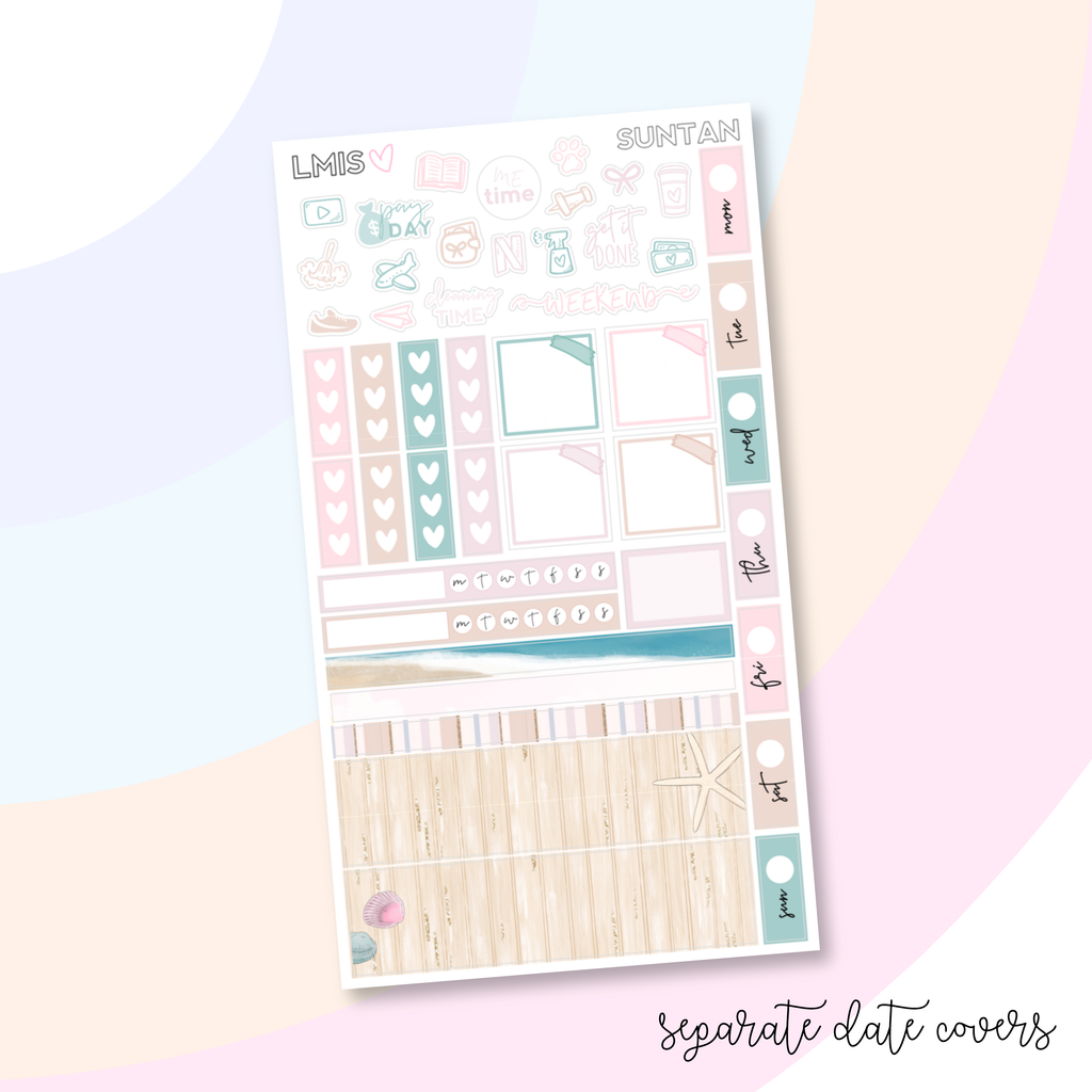 Suntan Hobonichi Weeks Planner Sticker Kit / 1 Sheet // Summer Sticker Kit // H Weeks