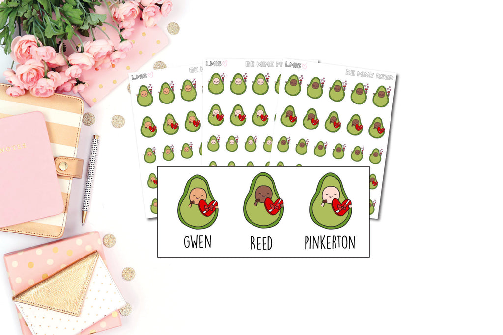 Valentine's Day/Be Mine AvoBabe Planner Stickers - Grab these stickers for your planner and let's get to it! - Let's Make It Sparkle