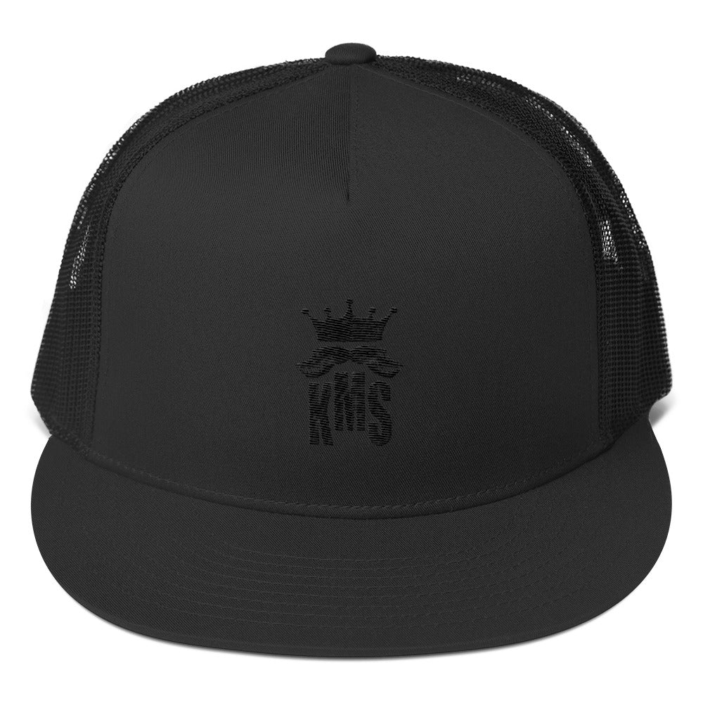 black trucker hat with embroidered KMS logo