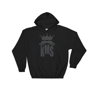 black hoody with KMS logo