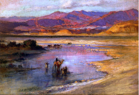 Frederick Arthur Bridgeman Crossing an Oasis, with the Atlas Mountains in the Distance, Morocco - Canvas Art Print