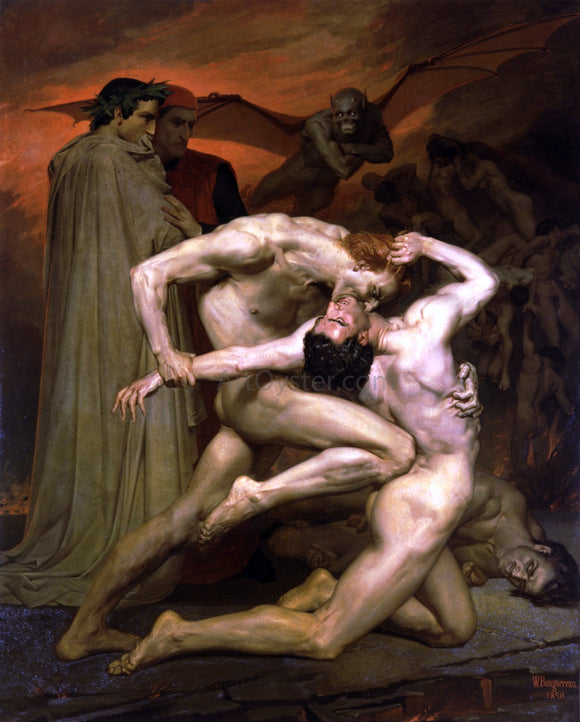 William Adolphe Bouguereau Dante and Virgil in Hell - Canvas Art Print