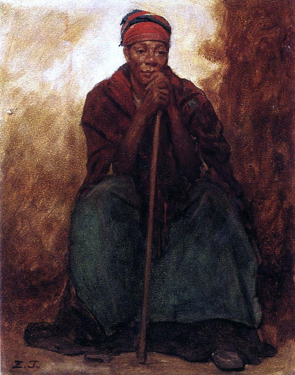 Eastman Johnson Dinah, Portrait of a Negress - Canvas Art Print