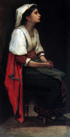 William Morris Hunt Italian Girl - Canvas Art Print